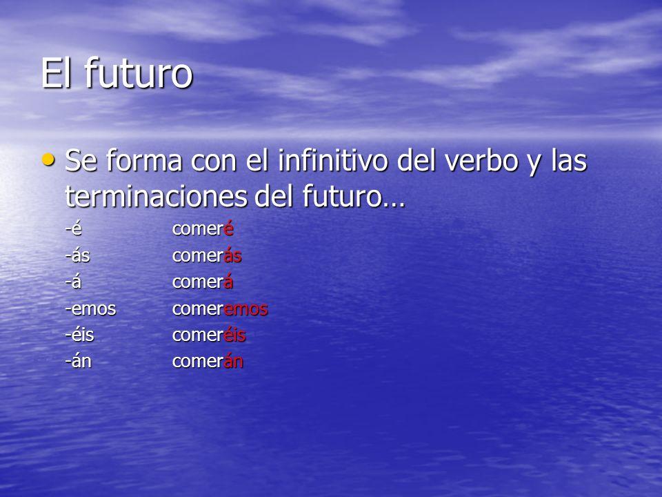 El futuro Se forma con el infinitivo del verbo y las terminaciones del futuro… Se forma con el infinitivo del verbo y las terminaciones del futuro… -é