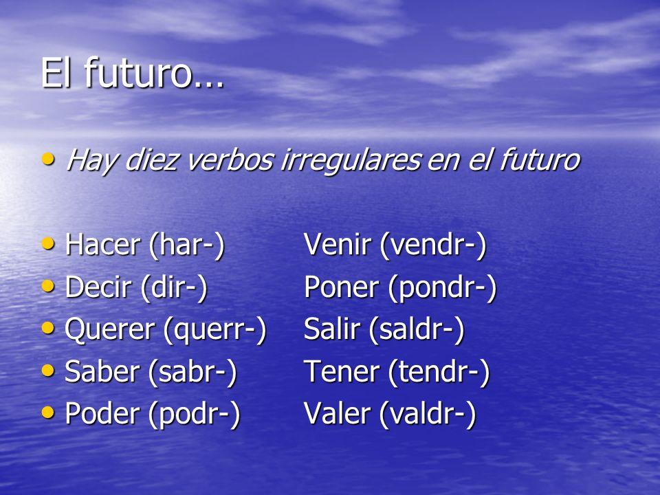 El futuro… Hay diez verbos irregulares en el futuro Hay diez verbos irregulares en el futuro Hacer (har-)Venir (vendr-) Hacer (har-)Venir (vendr-) Dec