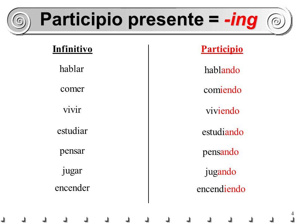 3 ¿Cómo lo formamos? -ar = -ando -er/-ir = -iendo Compound verb form 2 parts Any tense forms of ESTAR present Participle of the main verb (gerund / ge