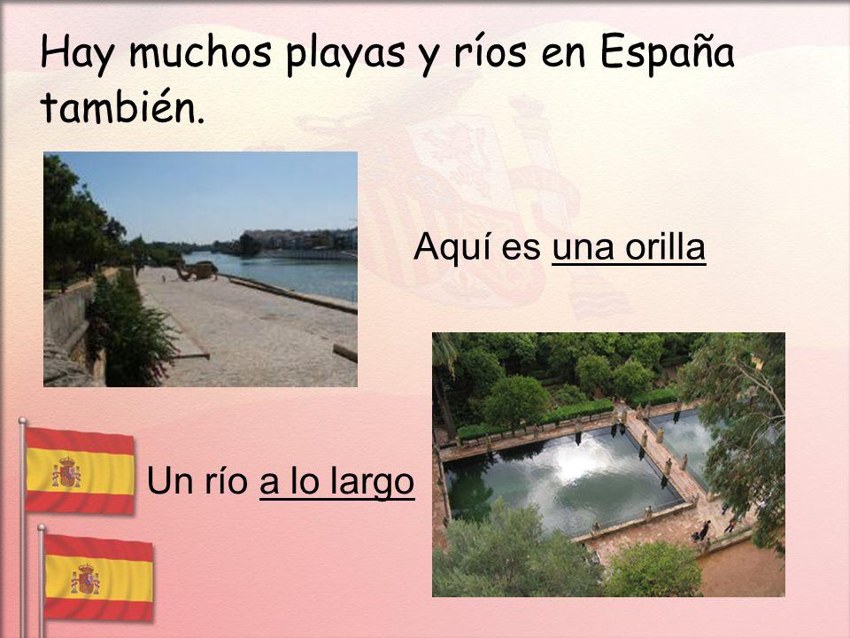 Hay muchos playas y ríos en España también. Aquí es una orilla Un río a lo largo