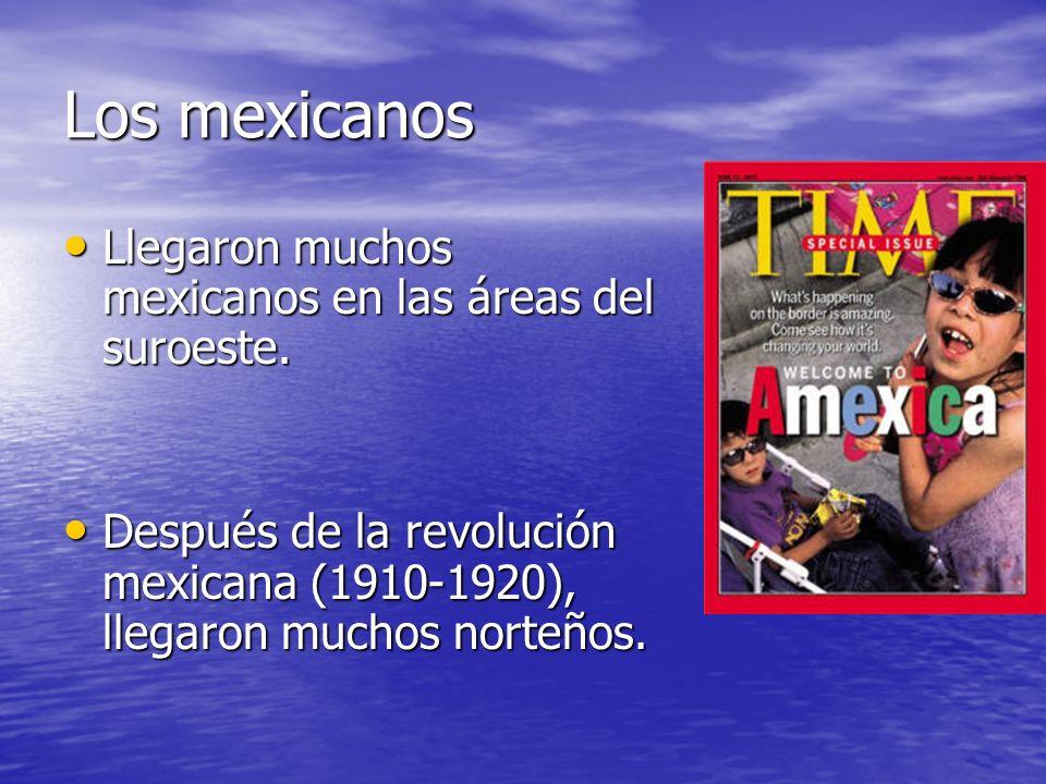 Los mexicanos Llegaron muchos mexicanos en las áreas del suroeste. Llegaron muchos mexicanos en las áreas del suroeste. Después de la revolución mexic