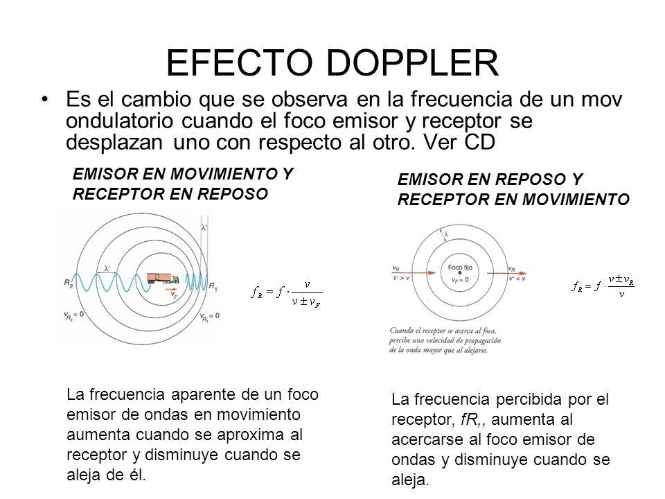 EFECTO DOPPLER Es el cambio que se observa en la frecuencia de un mov ondulatorio cuando el foco emisor y receptor se desplazan uno con respecto al ot