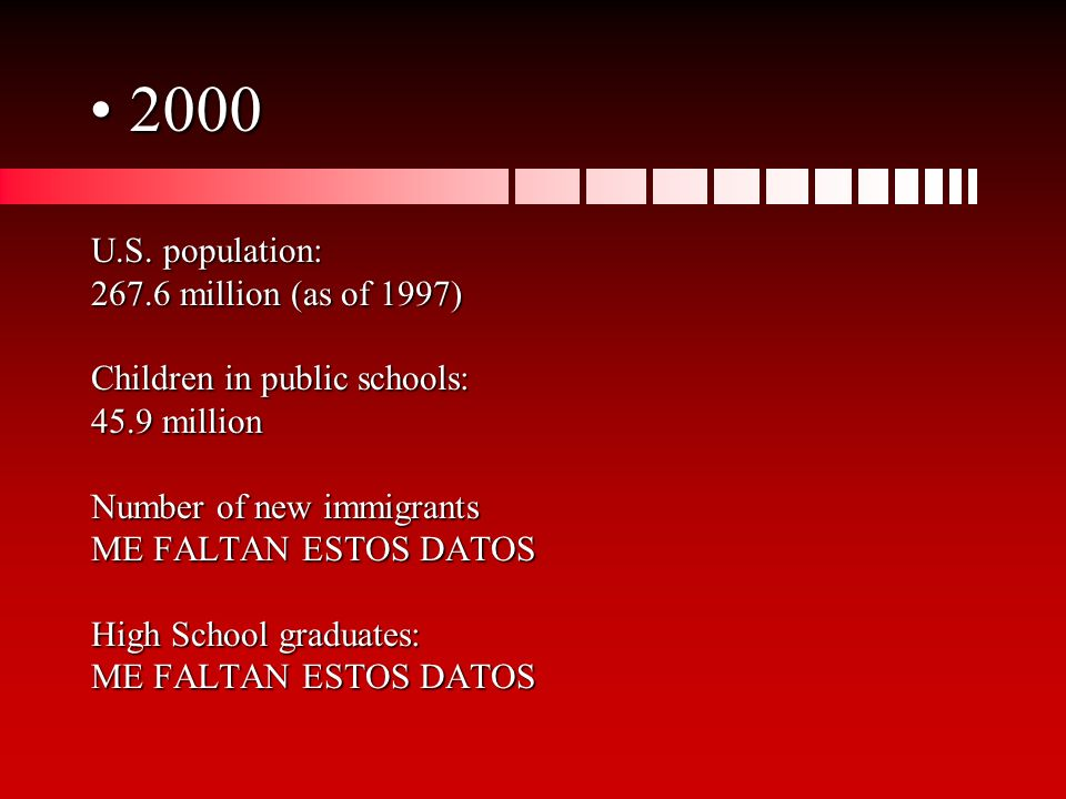 2000 2000 U.S. population: 267.6 million (as of 1997) Children in public schools: 45.9 million Number of new immigrants ME FALTAN ESTOS DATOS High Sch