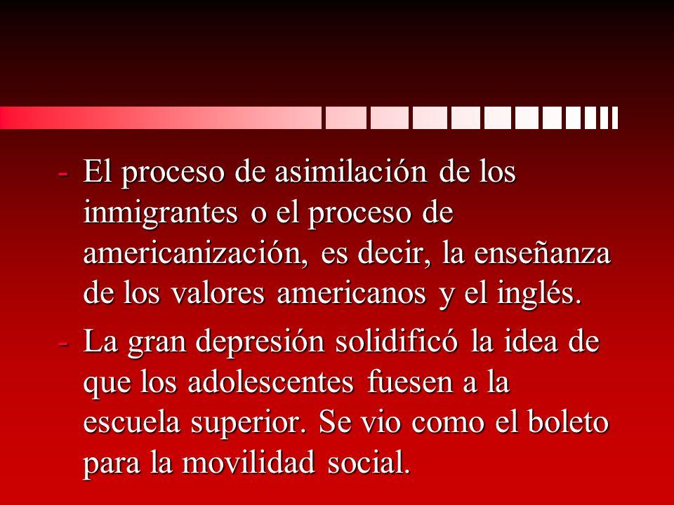 -El proceso de asimilación de los inmigrantes o el proceso de americanización, es decir, la enseñanza de los valores americanos y el inglés.