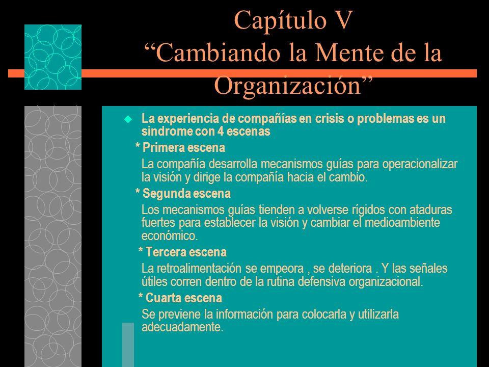 Capítulo V Cambiando la Mente de la Organización La experiencia de compañías en crisis o problemas es un sindrome con 4 escenas * Primera escena La co