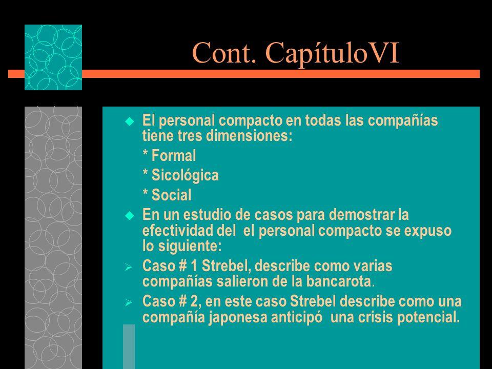 Cont. CapítuloVI El personal compacto en todas las compañías tiene tres dimensiones: * Formal * Sicológica * Social En un estudio de casos para demost
