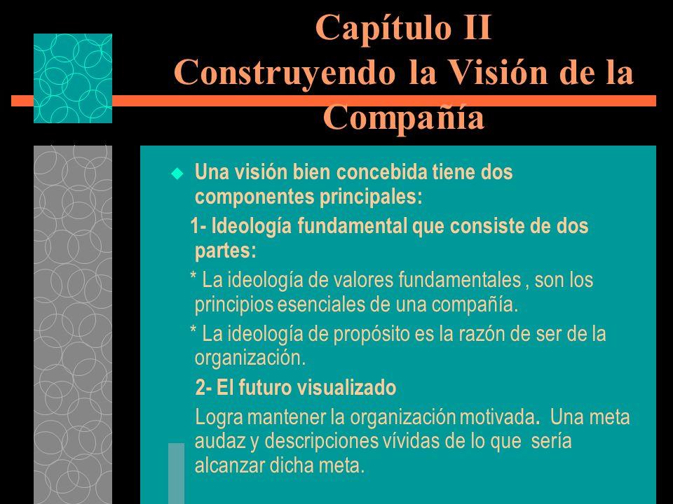Capítulo II Construyendo la Visión de la Compañía Una visión bien concebida tiene dos componentes principales: 1- Ideología fundamental que consiste d
