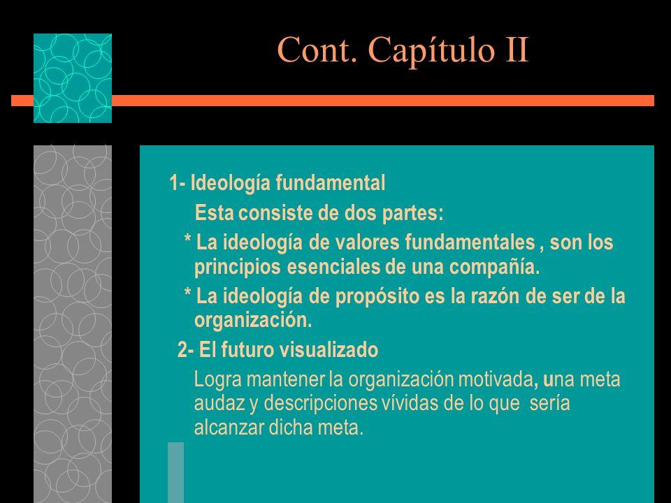Cont. Capítulo II 1- Ideología fundamental Esta consiste de dos partes: * La ideología de valores fundamentales, son los principios esenciales de una