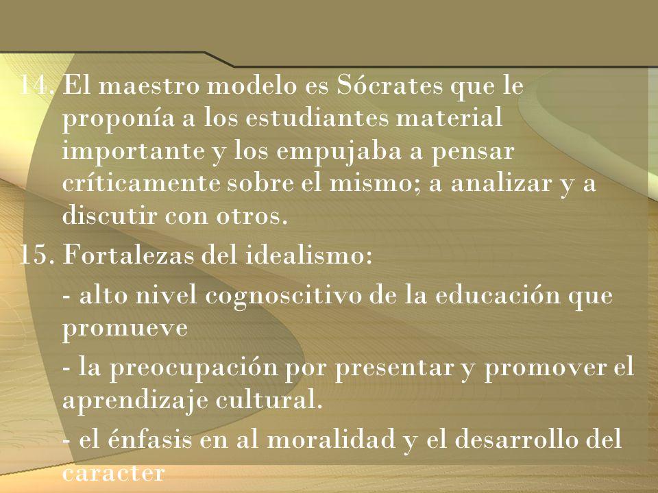 14.El maestro modelo es Sócrates que le proponía a los estudiantes material importante y los empujaba a pensar críticamente sobre el mismo; a analizar