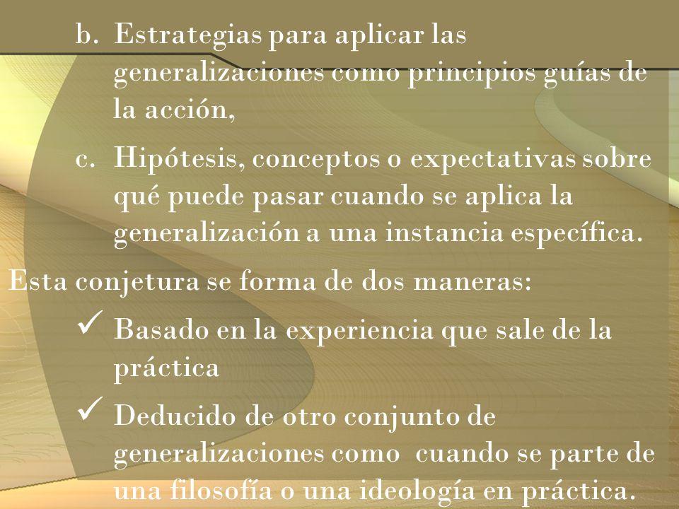 b.Estrategias para aplicar las generalizaciones como principios guías de la acción, c.Hipótesis, conceptos o expectativas sobre qué puede pasar cuando