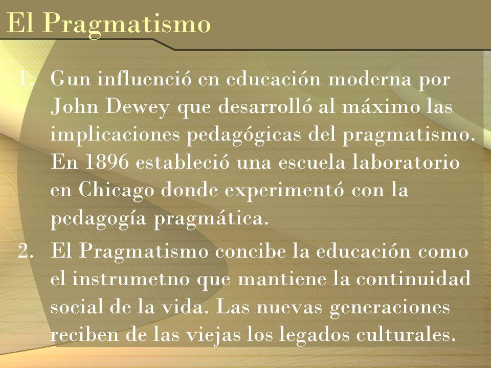 1.Gun influenció en educación moderna por John Dewey que desarrolló al máximo las implicaciones pedagógicas del pragmatismo. En 1896 estableció una es