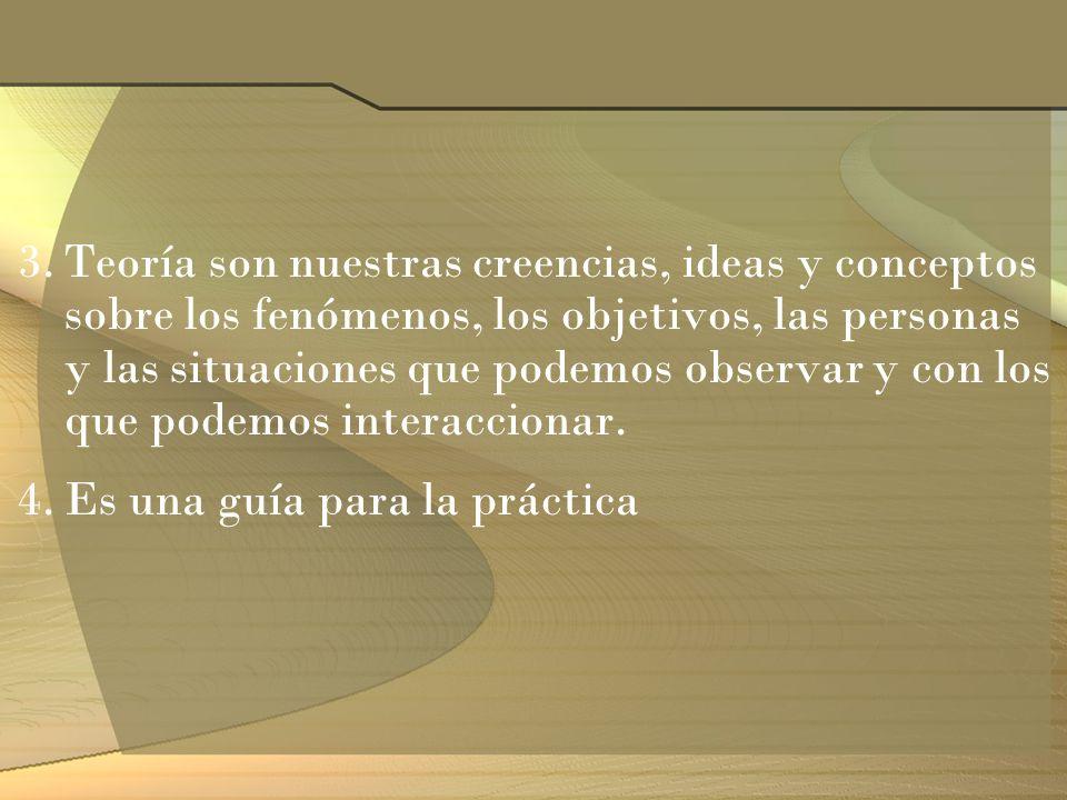 3.Teoría son nuestras creencias, ideas y conceptos sobre los fenómenos, los objetivos, las personas y las situaciones que podemos observar y con los q