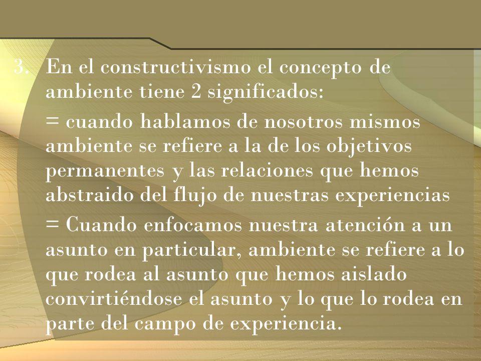 3.En el constructivismo el concepto de ambiente tiene 2 significados: = cuando hablamos de nosotros mismos ambiente se refiere a la de los objetivos p