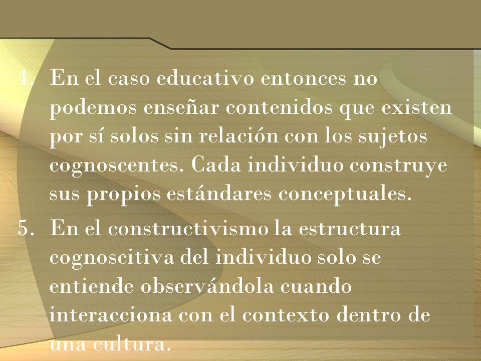 4.En el caso educativo entonces no podemos enseñar contenidos que existen por sí solos sin relación con los sujetos cognoscentes. Cada individuo const