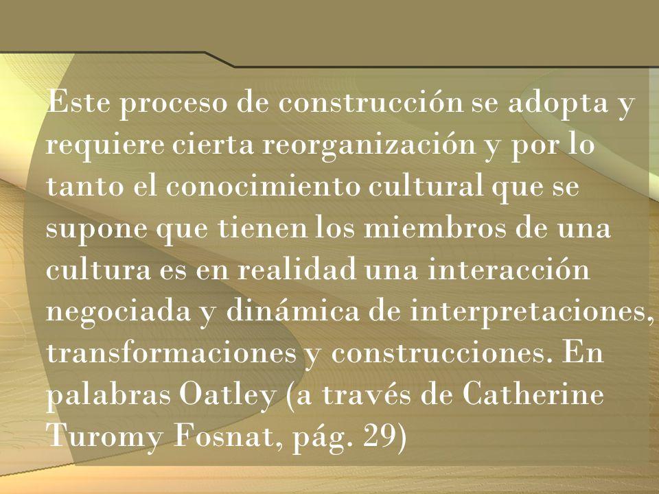 Este proceso de construcción se adopta y requiere cierta reorganización y por lo tanto el conocimiento cultural que se supone que tienen los miembros