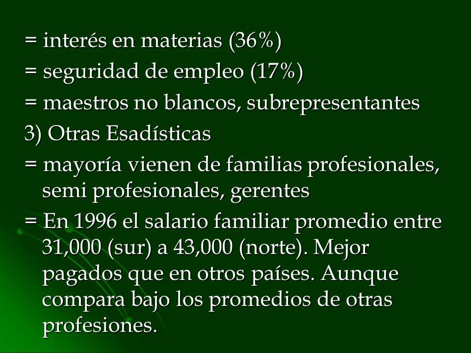 = interés en materias (36%) = seguridad de empleo (17%) = maestros no blancos, subrepresentantes 3) Otras Esadísticas = mayoría vienen de familias pro