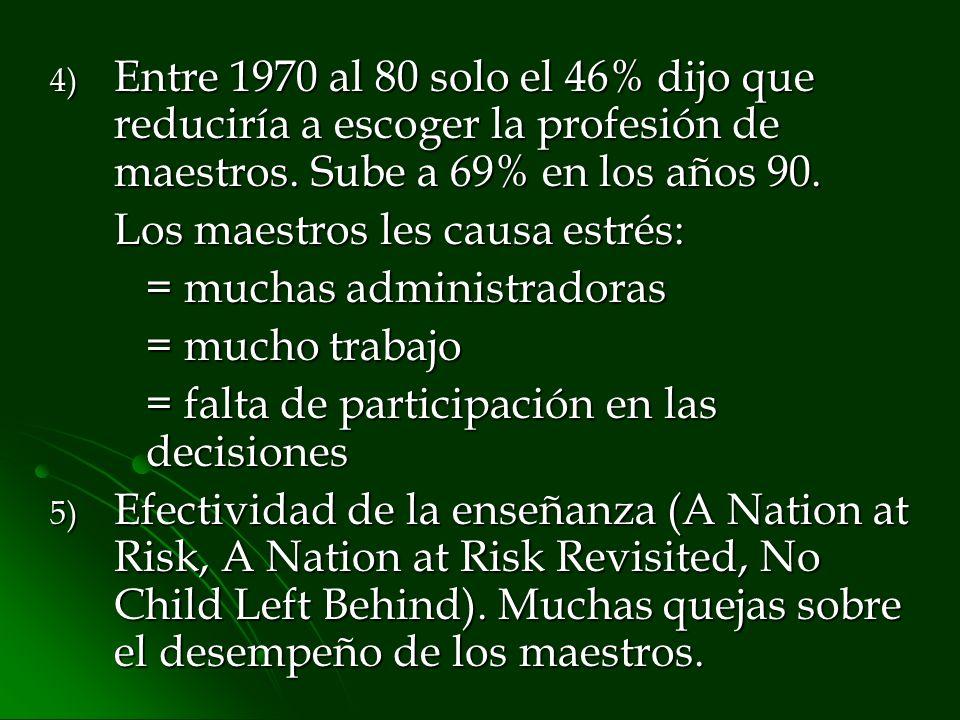 4) Entre 1970 al 80 solo el 46% dijo que reduciría a escoger la profesión de maestros. Sube a 69% en los años 90. Los maestros les causa estrés: = muc