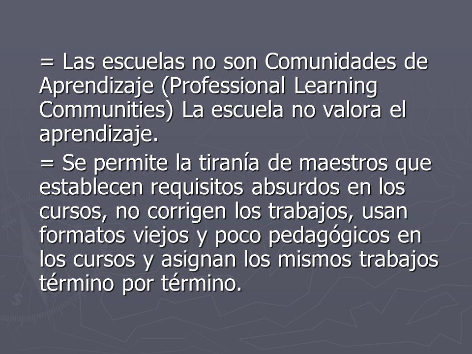 = Las escuelas no son Comunidades de Aprendizaje (Professional Learning Communities) La escuela no valora el aprendizaje. = Se permite la tiranía de m