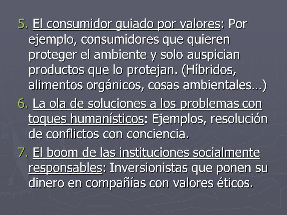 5. El consumidor guiado por valores: Por ejemplo, consumidores que quieren proteger el ambiente y solo auspician productos que lo protejan. (Híbridos,