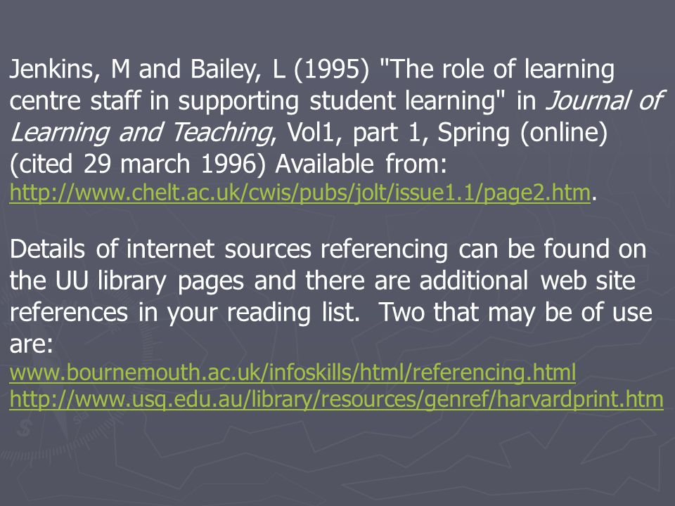 Jenkins, M and Bailey, L (1995)