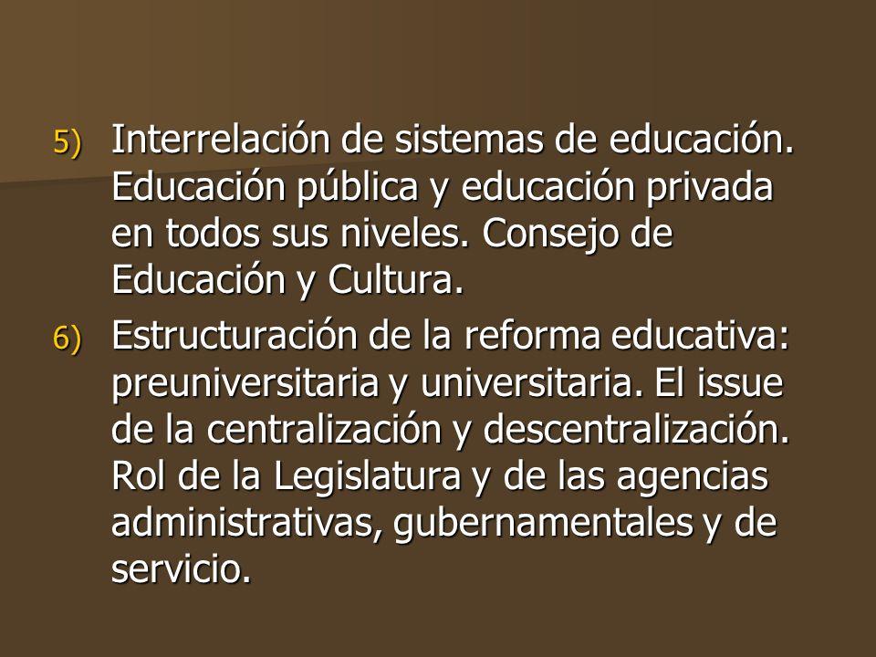 5) Interrelación de sistemas de educación.