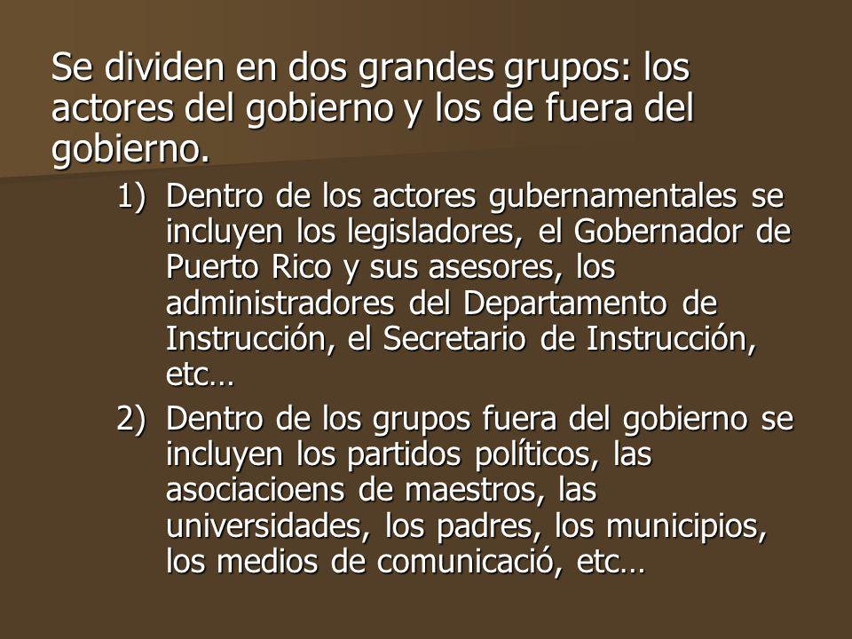 Se dividen en dos grandes grupos: los actores del gobierno y los de fuera del gobierno.