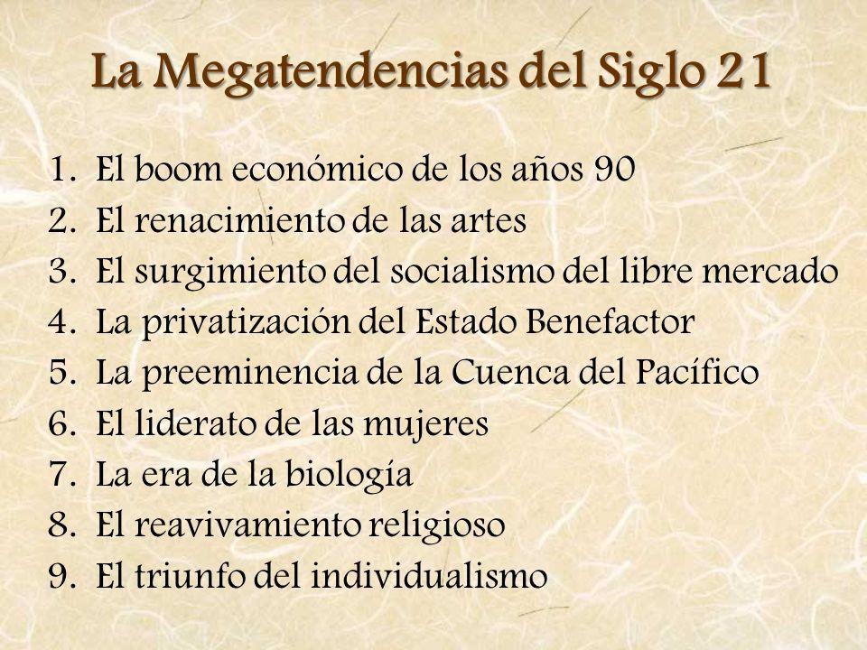 La Megatendencias del Siglo 21 1.El boom económico de los años 90 2.El renacimiento de las artes 3.El surgimiento del socialismo del libre mercado 4.L
