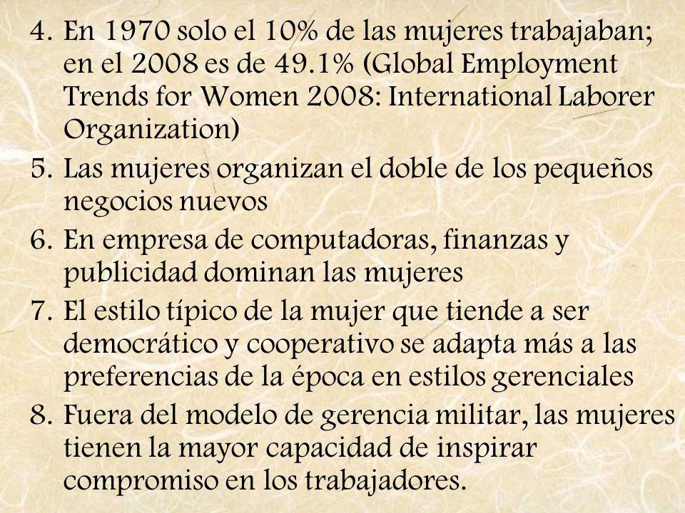 4.En 1970 solo el 10% de las mujeres trabajaban; en el 2008 es de 49.1% (Global Employment Trends for Women 2008: International Laborer Organization)