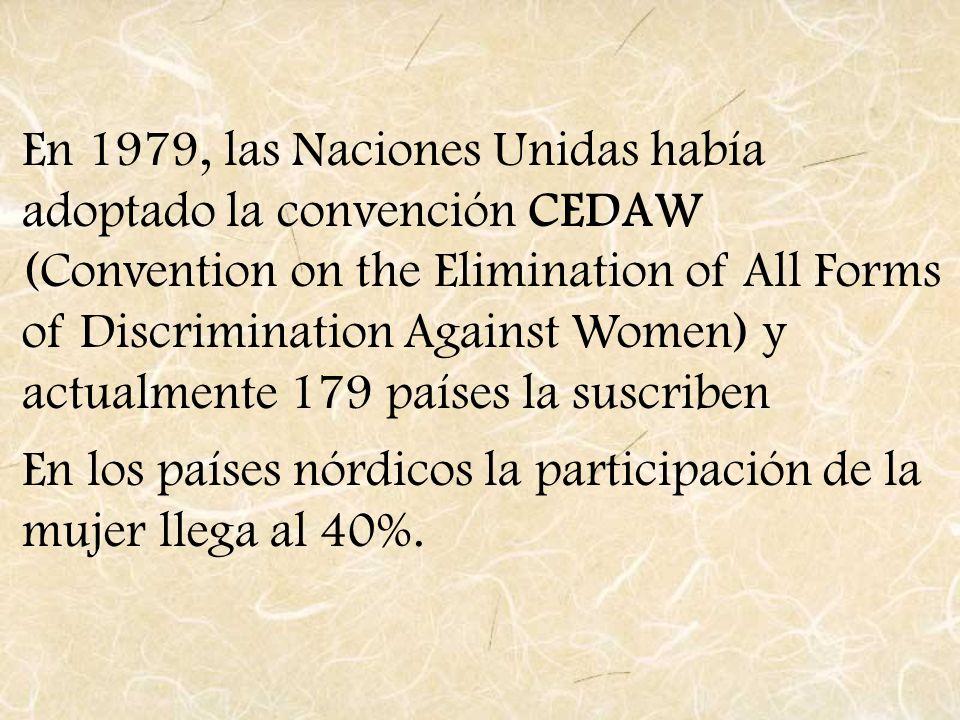En 1979, las Naciones Unidas había adoptado la convención CEDAW (Convention on the Elimination of All Forms of Discrimination Against Women) y actualm