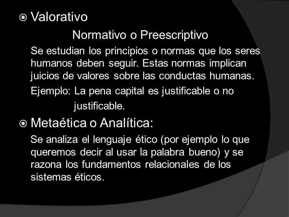 Valorativo Normativo o Preescriptivo Se estudian los principios o normas que los seres humanos deben seguir. Estas normas implican juicios de valores