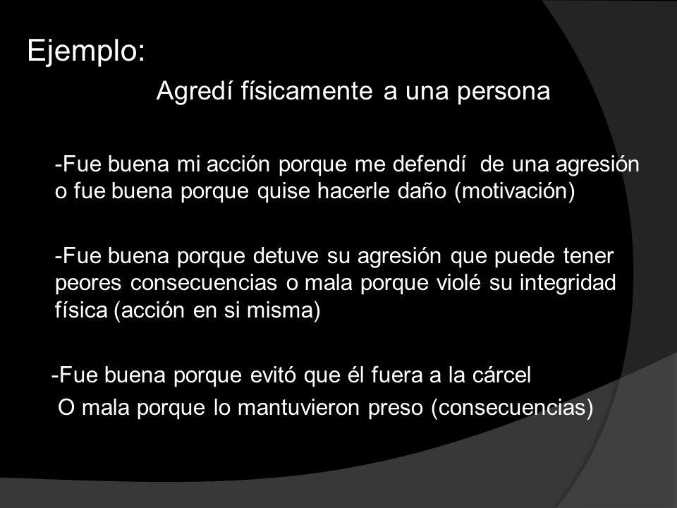 Ejemplo: Agredí físicamente a una persona -Fue buena mi acción porque me defendí de una agresión o fue buena porque quise hacerle daño (motivación) -F