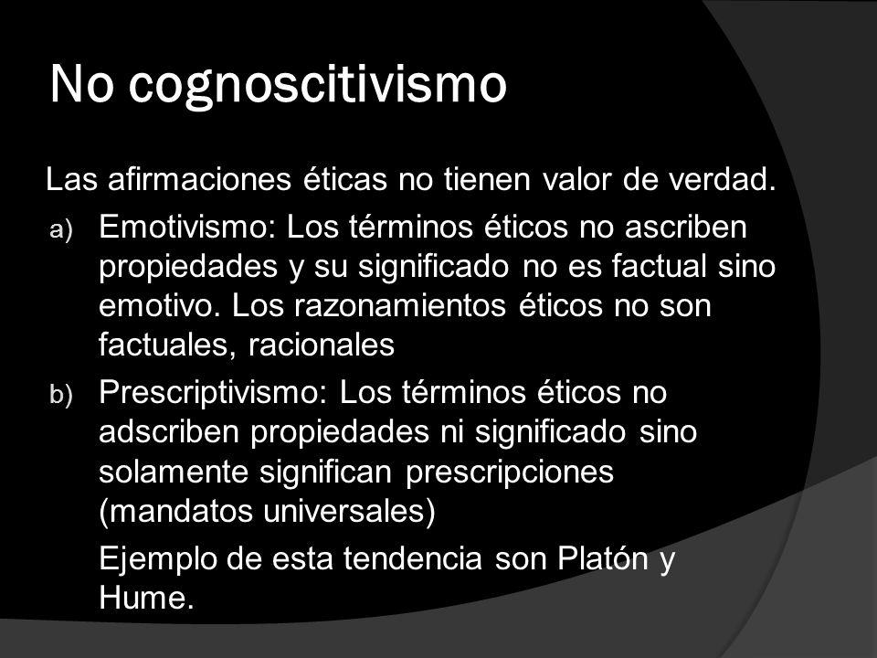 No cognoscitivismo Las afirmaciones éticas no tienen valor de verdad. a) Emotivismo: Los términos éticos no ascriben propiedades y su significado no e