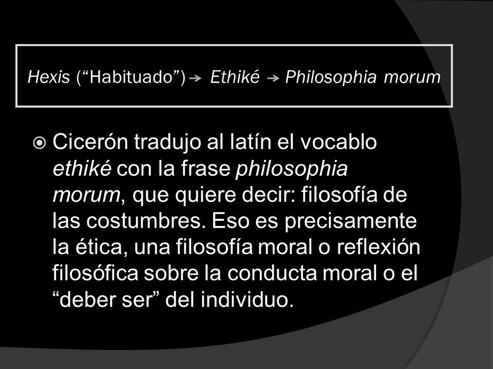 Hexis (Habituado) Ethiké Philosophia morum Cicerón tradujo al latín el vocablo ethiké con la frase philosophia morum, que quiere decir: filosofía de l