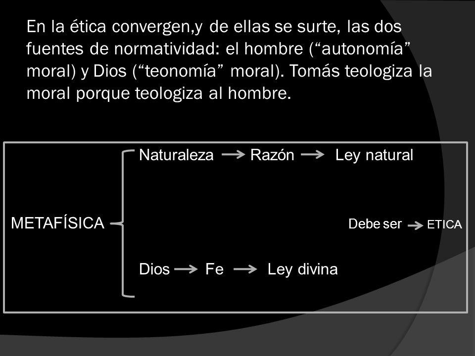 En la ética convergen,y de ellas se surte, las dos fuentes de normatividad: el hombre (autonomía moral) y Dios (teonomía moral). Tomás teologiza la mo