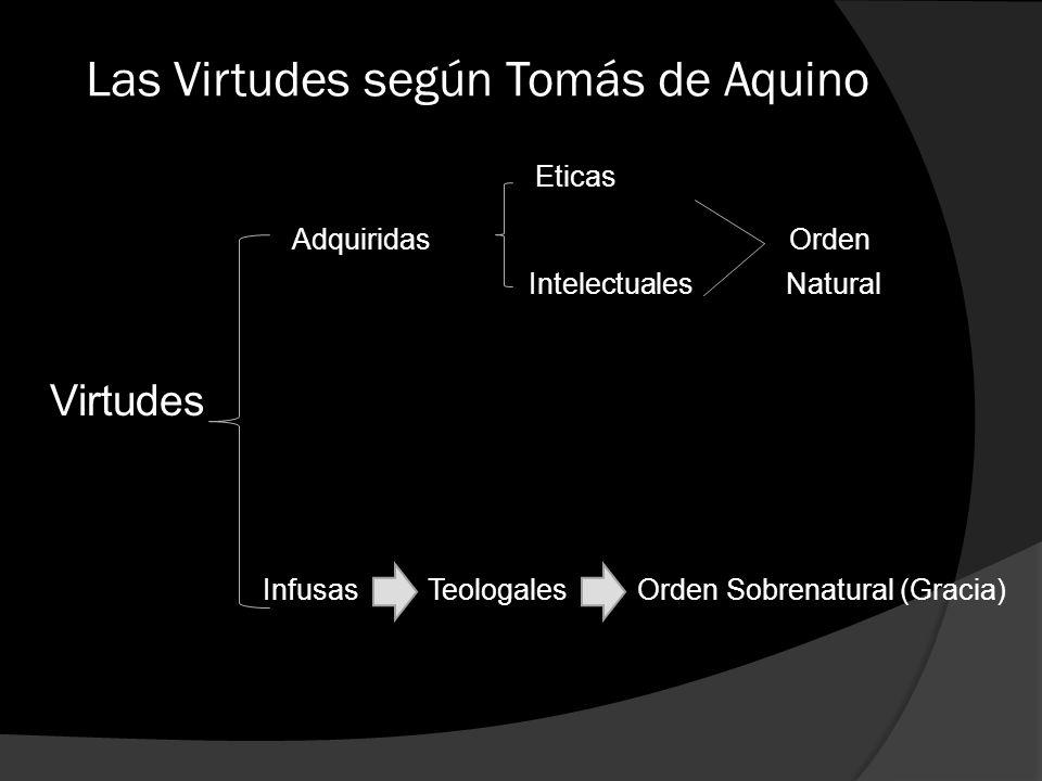 Las Virtudes según Tomás de Aquino Eticas Adquiridas Orden Intelectuales Natural Virtudes Infusas Teologales Orden Sobrenatural (Gracia)