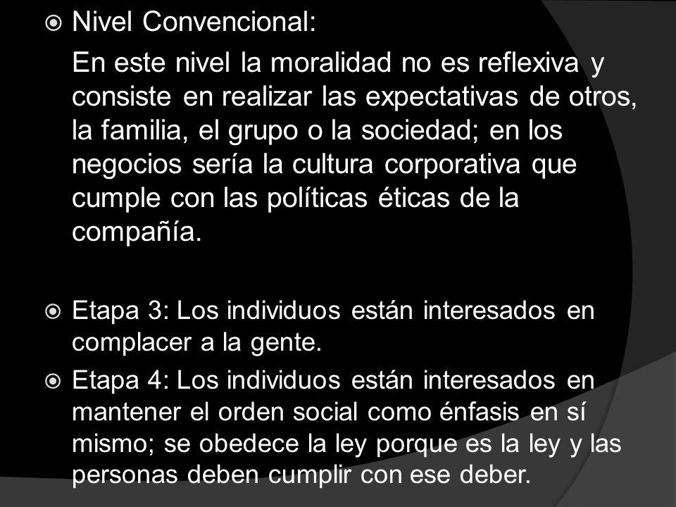Nivel Convencional: En este nivel la moralidad no es reflexiva y consiste en realizar las expectativas de otros, la familia, el grupo o la sociedad; e