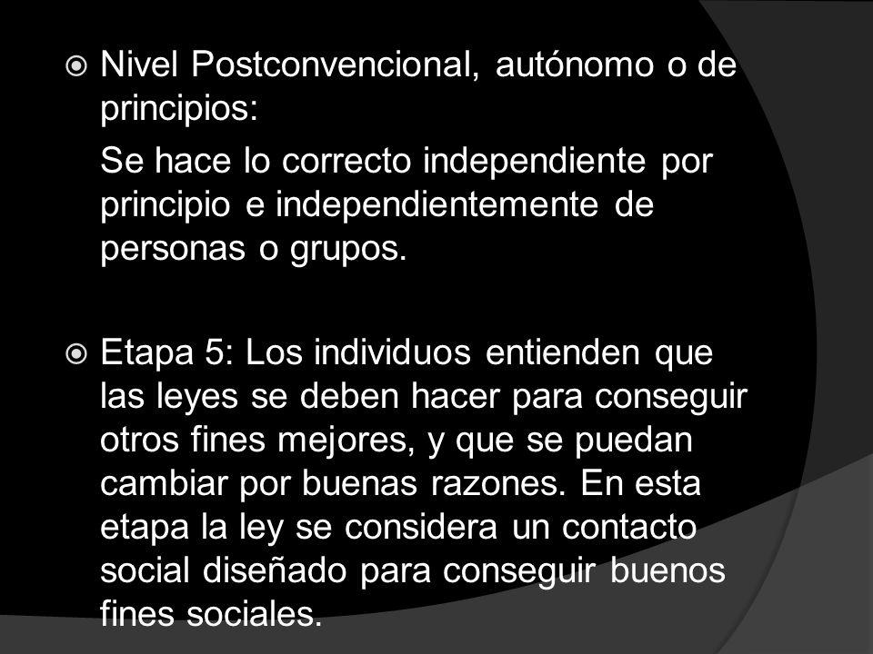 Nivel Postconvencional, autónomo o de principios: Se hace lo correcto independiente por principio e independientemente de personas o grupos. Etapa 5: