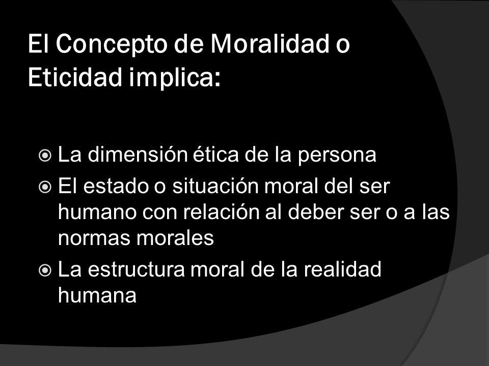 El Concepto de Moralidad o Eticidad implica: La dimensión ética de la persona El estado o situación moral del ser humano con relación al deber ser o a