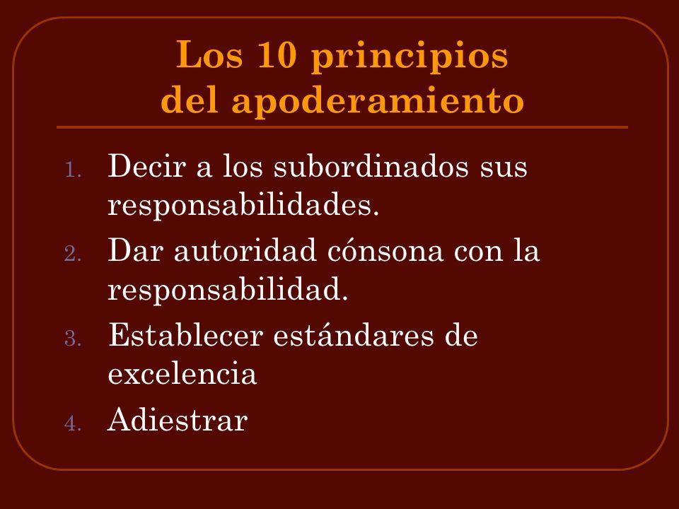 Los 10 principios del apoderamiento 1. Decir a los subordinados sus responsabilidades. 2. Dar autoridad cónsona con la responsabilidad. 3. Establecer