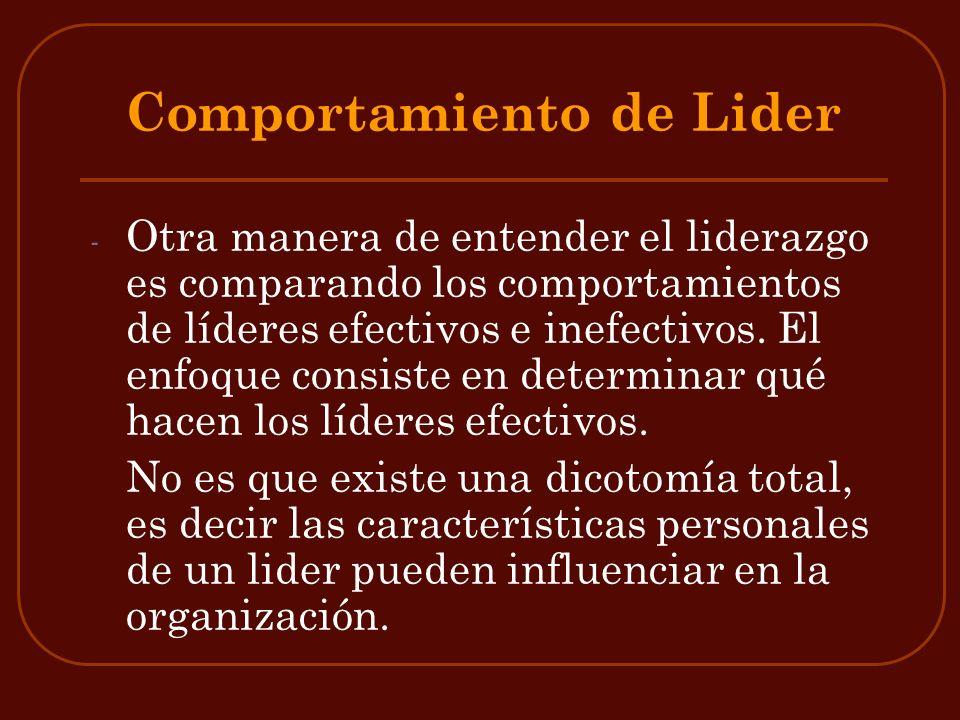 Comportamiento de Lider - Otra manera de entender el liderazgo es comparando los comportamientos de líderes efectivos e inefectivos. El enfoque consis