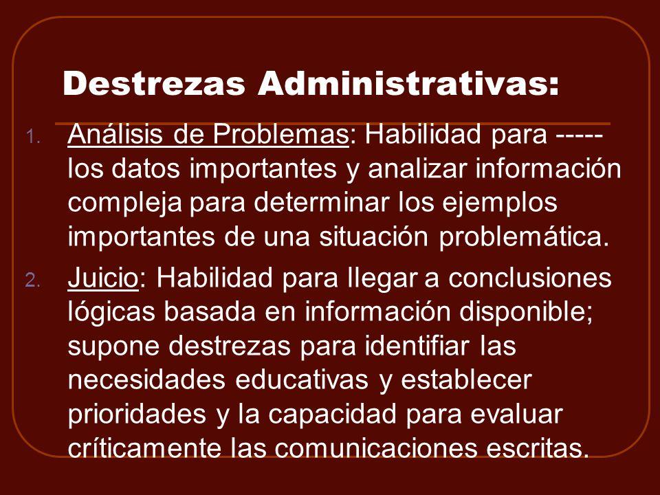 Destrezas Administrativas: 1. Análisis de Problemas: Habilidad para ----- los datos importantes y analizar información compleja para determinar los ej