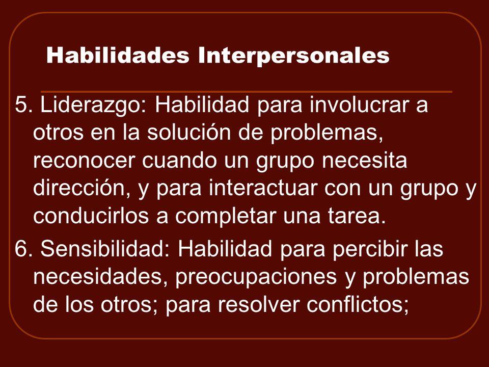 Habilidades Interpersonales 5. Liderazgo: Habilidad para involucrar a otros en la solución de problemas, reconocer cuando un grupo necesita dirección,