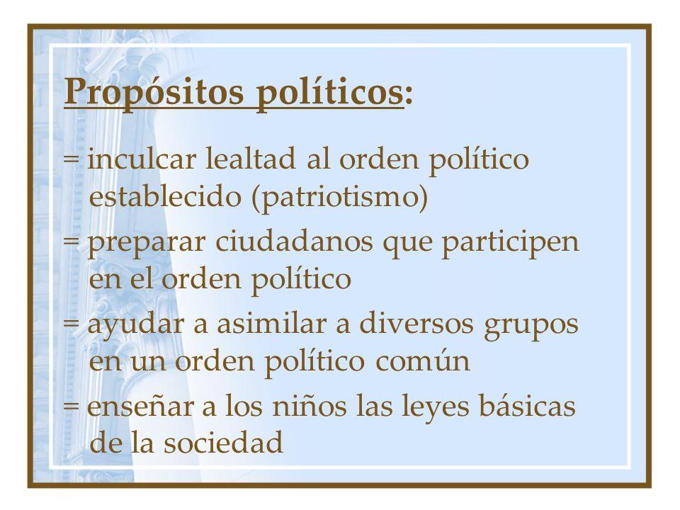 Propósitos políticos: = inculcar lealtad al orden político establecido (patriotismo) = preparar ciudadanos que participen en el orden político = ayuda