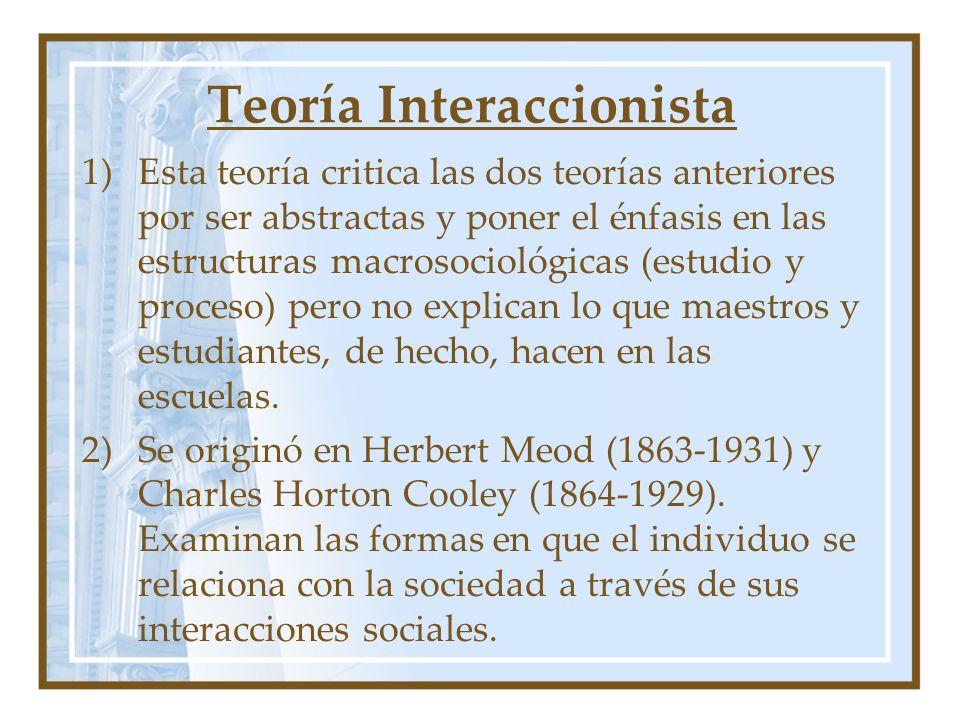 Teoría Interaccionista 1)Esta teoría critica las dos teorías anteriores por ser abstractas y poner el énfasis en las estructuras macrosociológicas (es