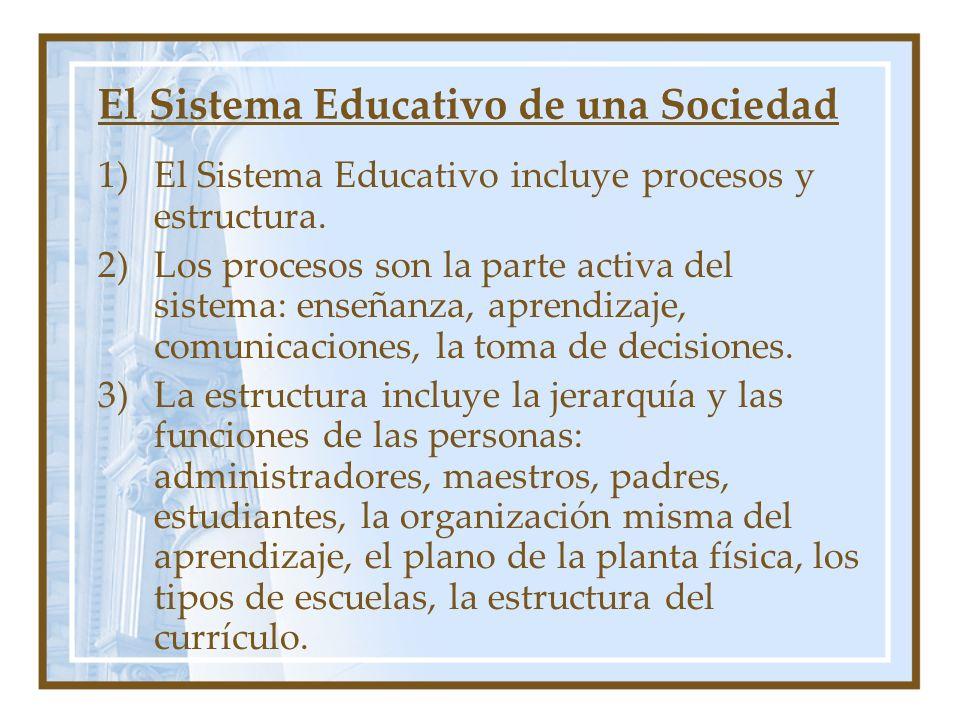 El Sistema Educativo de una Sociedad 1)El Sistema Educativo incluye procesos y estructura. 2)Los procesos son la parte activa del sistema: enseñanza,