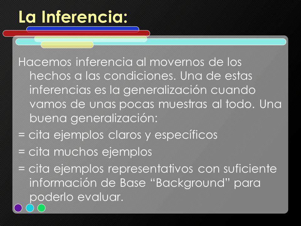 La Inferencia: Hacemos inferencia al movernos de los hechos a las condiciones. Una de estas inferencias es la generalización cuando vamos de unas poca