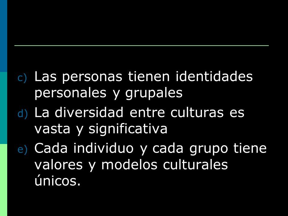 c) Las personas tienen identidades personales y grupales d) La diversidad entre culturas es vasta y significativa e) Cada individuo y cada grupo tiene