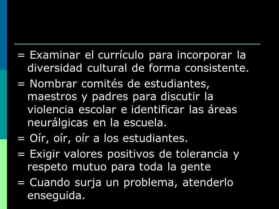 = Examinar el currículo para incorporar la diversidad cultural de forma consistente. = Nombrar comités de estudiantes, maestros y padres para discutir