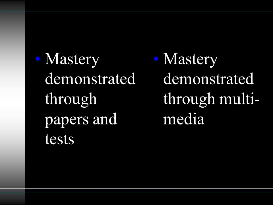 Mastery demonstrated through papers and tests Mastery demonstrated through multi- media