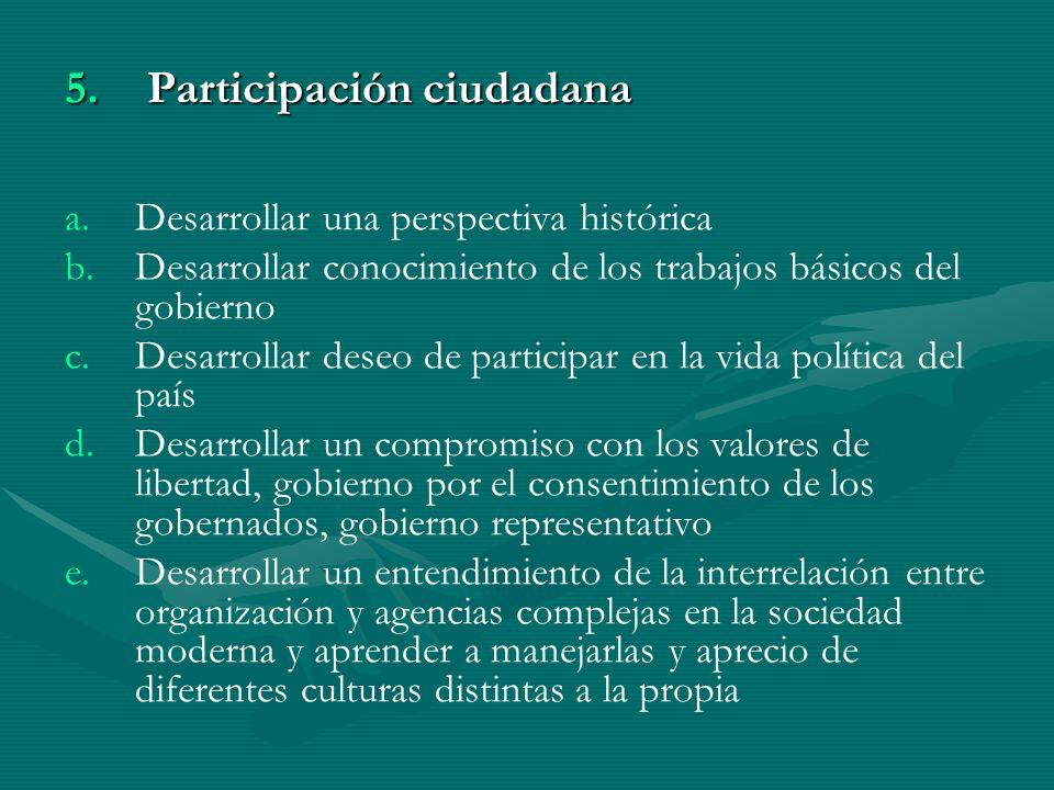 5. P articipación ciudadana a. a.Desarrollar una perspectiva histórica b.